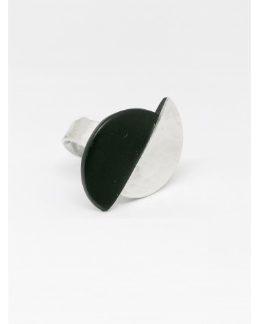 Bague demi lune bi-colore B1004 Noir Culture Mix
