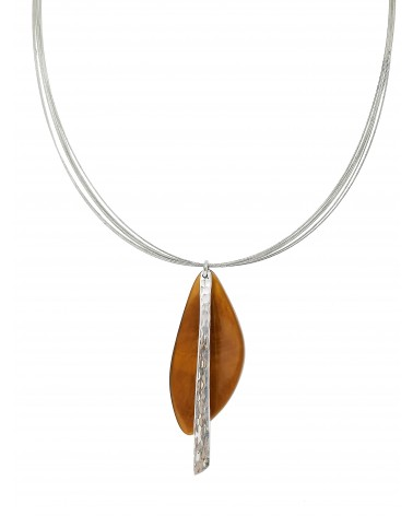 Orange resin aluminium necklace 4604TC Culture Mix Collier résine orange aluminium  4604OR Culture Mix