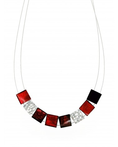Collier 8 cubes aluminium et résine rouge 4944RG Culture Mix