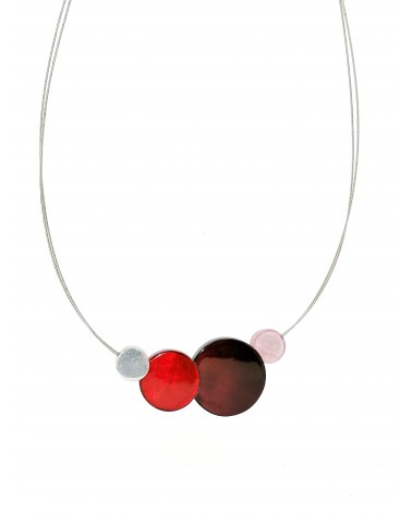 Collier 4 ronds aluminium et résine rouge 4928RG Culture Mix