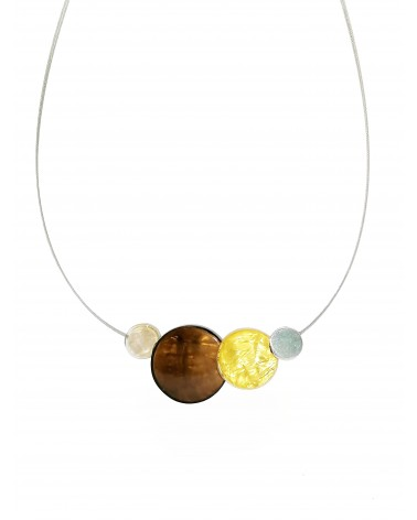 Collier 4 ronds aluminium et résine jaune 4928YL Culture Mix