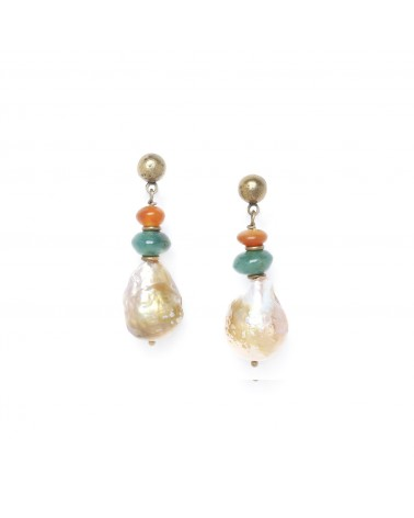 FOREST THERAPY boucles d'oreilles grosse perle - Nature Bijoux