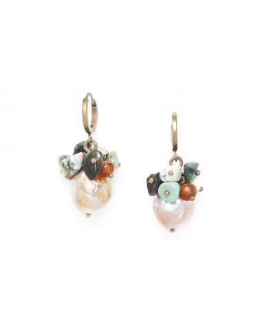 FOREST THERAPY boucles d'oreilles perle & grappe - Nature Bijoux