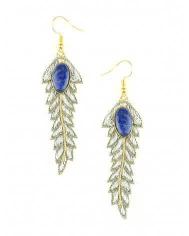 Earrings LORIE Silver Lapis NAHUA