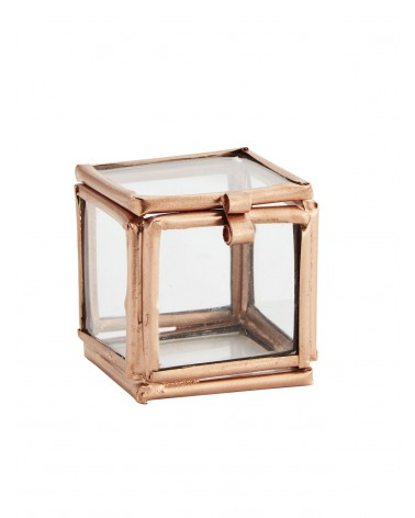 Quadratic glass box copper 3,5x3,5x3,5 cm Madam Stoltz
