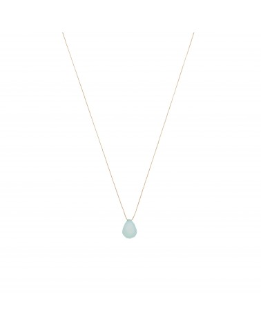 Aqua Calcedoine Drop Necklace Une A Une