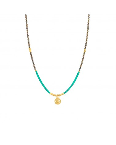 COLLIER MACHU PICCHU MEDAILLE Turquoise Une a Une