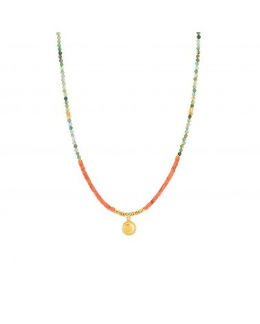 COLLIER MACHU PICCHU MEDAILLE Orange Emeraude Une a Une