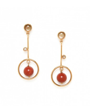 LES INSEPARABLES-ASTRE red jasper ring post Earrings