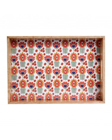 SEMA Design - Wood Tray Flora Bohemian Red