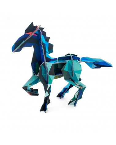Sculptures en carton 3D Totem Cheval frison bleu Studio ROOF