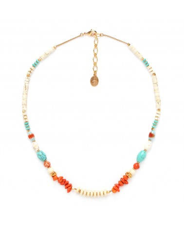 KALI collier orange turquoise & blanc - Nature Bijoux