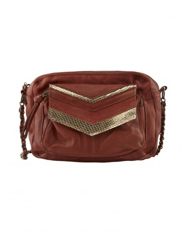 PIECES - PCGINA Leather bag Rust Gold Snake Foil