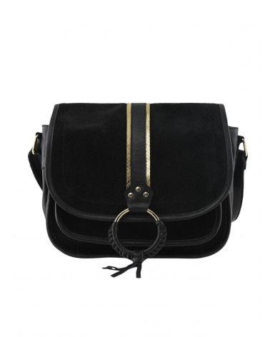 PIECES - PCGRY Leather bag Crossbody bag for Women Black Gold Snake