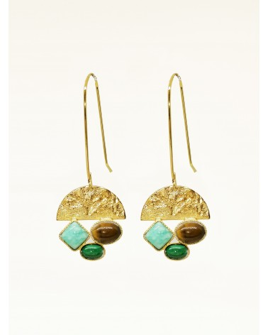 Earrings Lison Amazonite Malachite tiger eye - Eva Krystal