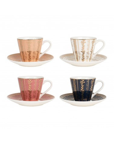 SEMA Design - Gift box of 4 teacups & saucers VEGETAL GOLD
