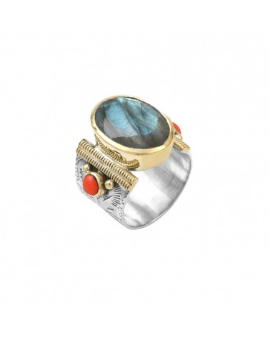 Ethnic Ring Silver Gold Labradorite Oval and Coral Orange Pearls - CANYON
