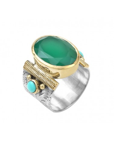 Ethnic Ring Silver Gold Green onyx oval and turquoise pearls - CANYON