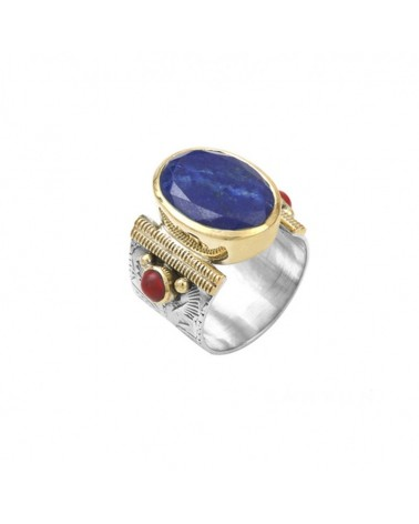 Ethnic Ring Silver Gold Lapis Lazuli Oval and Coral Red Pearls - CANYON