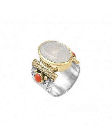 Ethnic Ring Silver Gold Moon stone Oval and Coral Pearls - CANYON