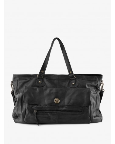 PIECES - Totally Royal Leather Travel Bag Black CP