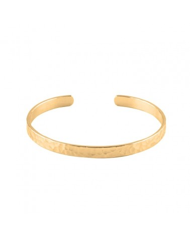 OZHAO Thin open hammered gold plated bangle bracelet