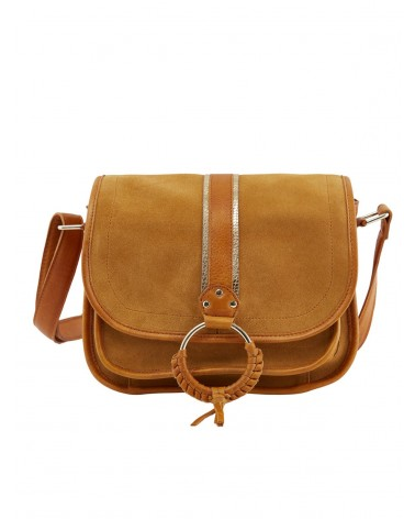 PIECES - PCGRY Leather bag Crossbody bag for Women Cognac Gold Snake