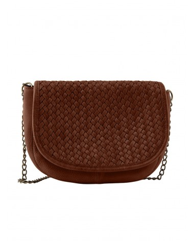 PCFALULLA Root Beer Leather Crossbody bag PIECES