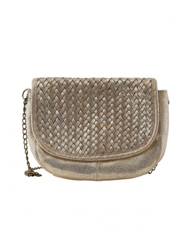 PCFALULLA Gold Snow Leather Crossbody bag PIECES