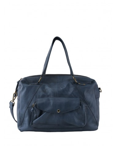 PCLIV Maritime Blue Leather Daily bag PIECES