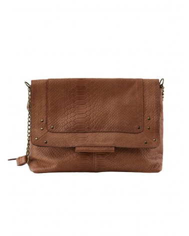 PCFELIZIA Root Beer Snake Leather crossbody bag PIECES