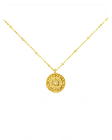 INDIA PEARL MEDAL NECKLACE Une A Une