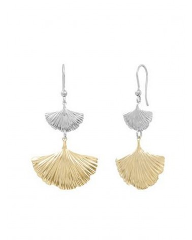Silver and gold-plated dangling hook earrings - Canyon