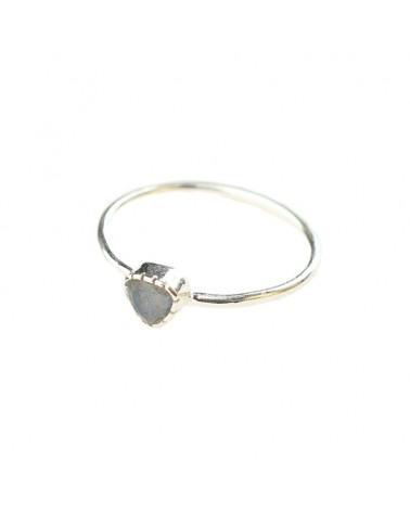 925 sterling silver ring with labradorite triangle stone