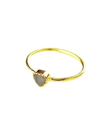 Muja Juma - Gold plated 925 sterling silver ring with labradorite triangle stone