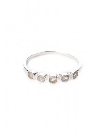 Muja Juma - 925 sterling silver ring with 5 white moon stones