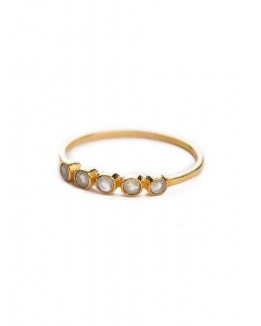 Muja Juma - Gold Plated 925 sterling silver ring with 5 stones labradorite