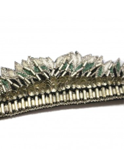 Bracelet brodé FABIA Vert argenté NAHUA
