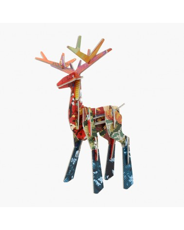 Sculptures en carton 3D Totem Cerf Studio ROOF