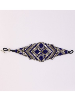 Bracelet brodé ARIA Argenté Bleu NAHUA
