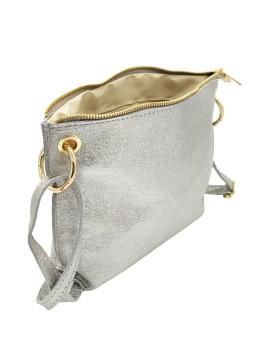 Sac bandoulière brodé cuir MAHE Bleu Gris NAHUA