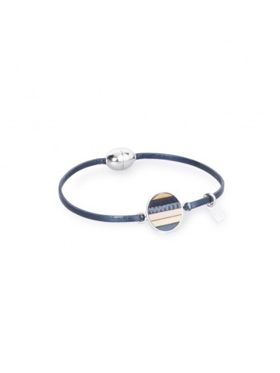 Bracelet en cuir Tara mini aimant Heure Bleu Flowers for Zoé