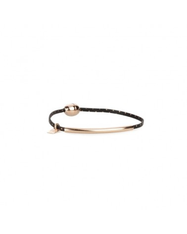 Bracelet en cuir 1 tour tube Petits pois rosé Flowers for Zoé