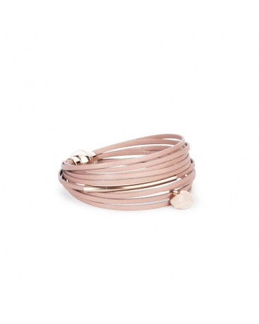 Bracelet en cuir multiliens tube Rose Cerisier rosé Flowers for Zoé