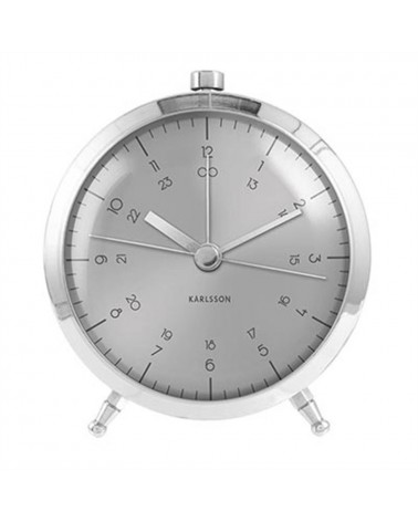 Karlsson Present time Alarm clock Button brushed steel