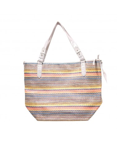 Sac Shopping Cabas Nine Straw Corail Mila Louise