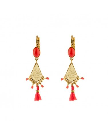 BOUCLES D'OREILLES ORIGINALES KUZCO DORÉ CORAIL SATELLITE PARIS
