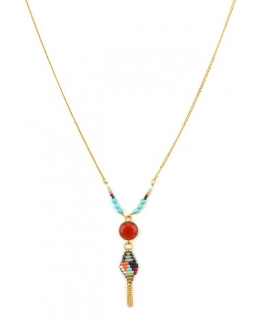 COLLIER SOFIA PENDENTIF CABOCHON ORANGE SATELLITE