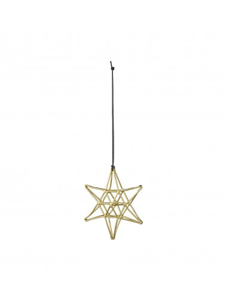 Déco de noël à suspendre étoile métal doré H8cm