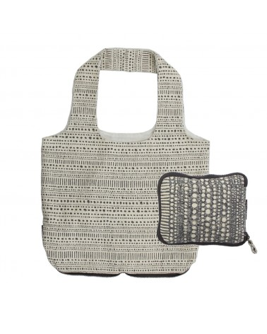 Foldable Shopping Bag Beige Grey